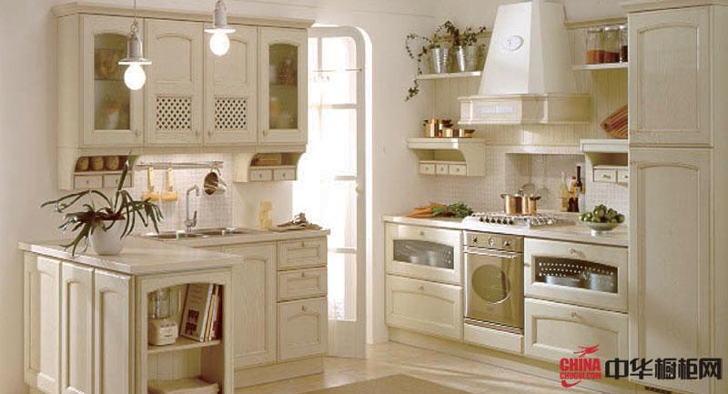 欧式田园风格厨房装修效果图大全2012图片 白色的厨房空间流淌着静静的优雅休闲——希耶纳