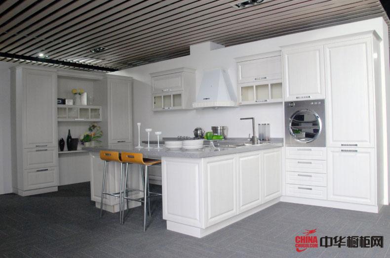 我乐橱柜装修设计效果图展示 白色欧式风格整体厨房装修效果图大全—