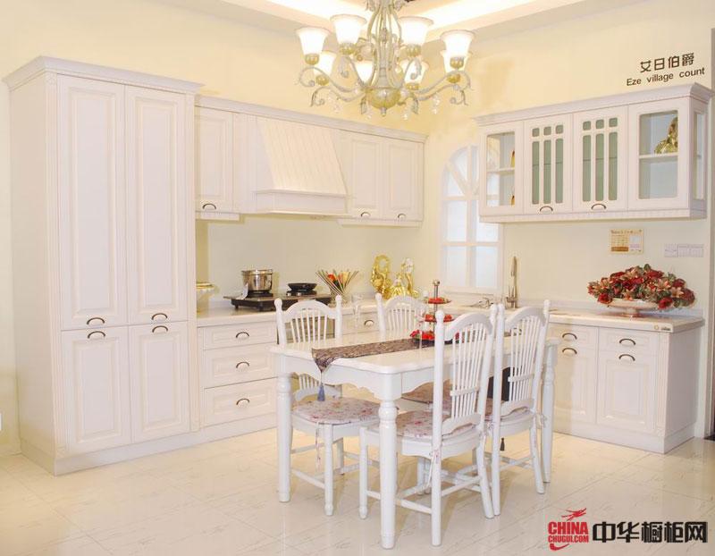 开放式厨房装修设计图片 白色实木整体橱柜装修效果图 展示欧式田园的静谧
