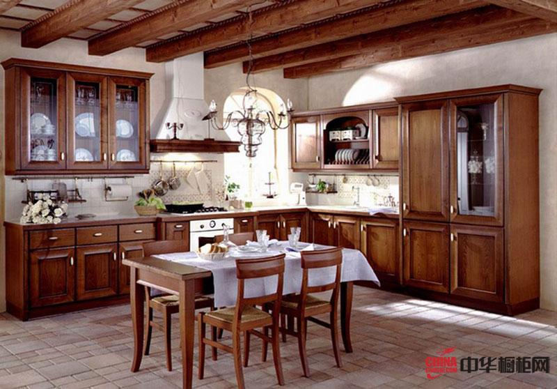 美式乡村风格整橱柜装修设计效果图 L型厨房装修效果图大全2012图片展示豪放的个性