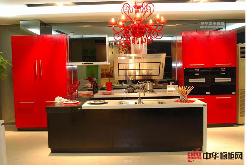 红色喜庆的整体橱柜装修设计 简约风格厨房装修效果图