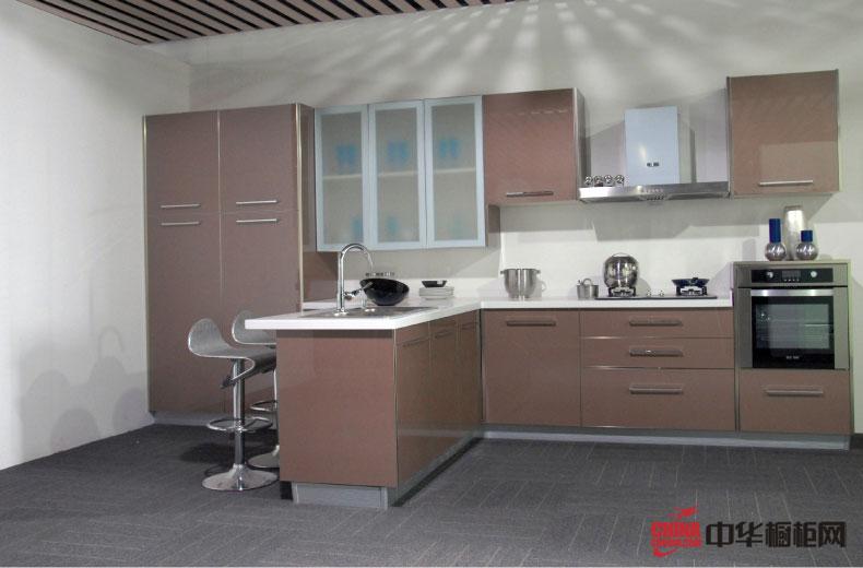 香槟色橱柜装修实景图 简约风格厨房装修设计图片