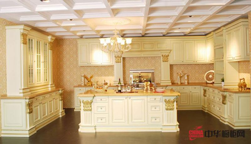 卢浮宫——欧式风格整体厨房装修效果图|实木橱柜图片|整体橱柜装修设计效果图片 彰显皇家尊贵
