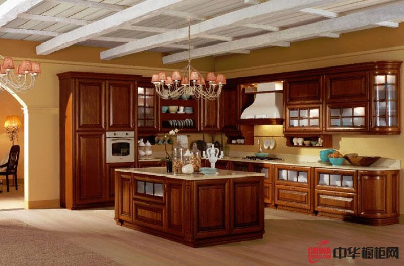 古典实木橱柜装修设计图片|岛型厨房装修效果图 集成欧式古典隐藏贵族