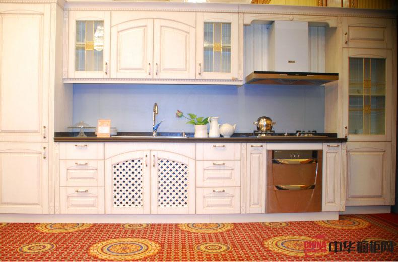 简约式欧式田园风格厨房装修效果图大全 一字型整体橱柜装修效果图