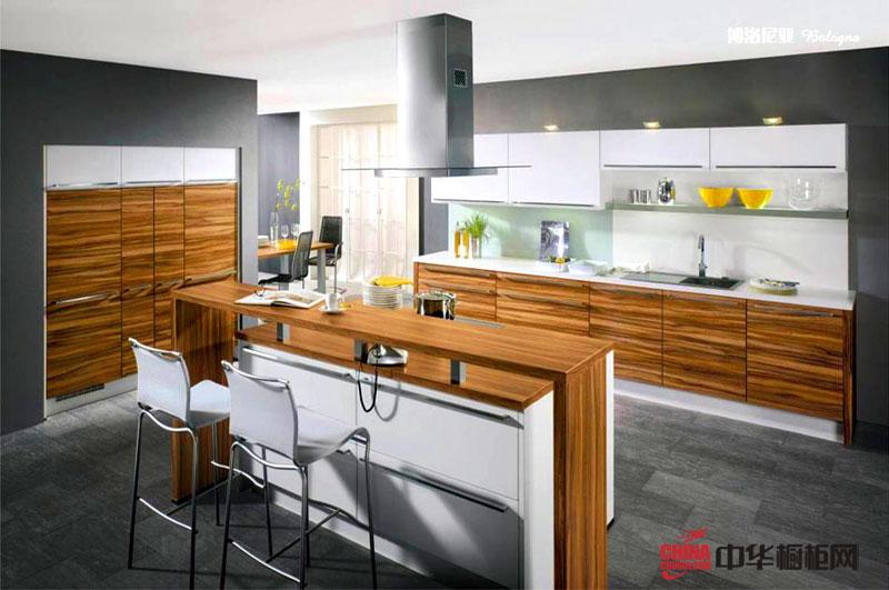 木纹装饰整体橱柜图片 田园风格厨房装修效果图大全2012图片