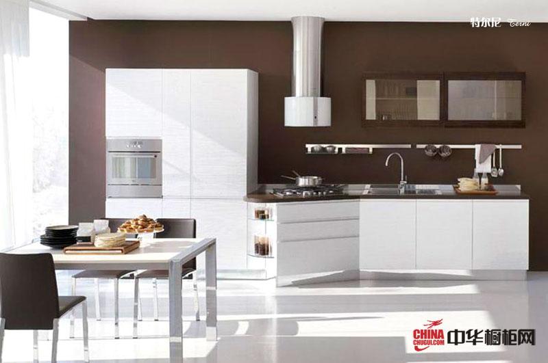咖啡色小厨房装修效果图欣赏 一字型白色烤漆橱柜图片