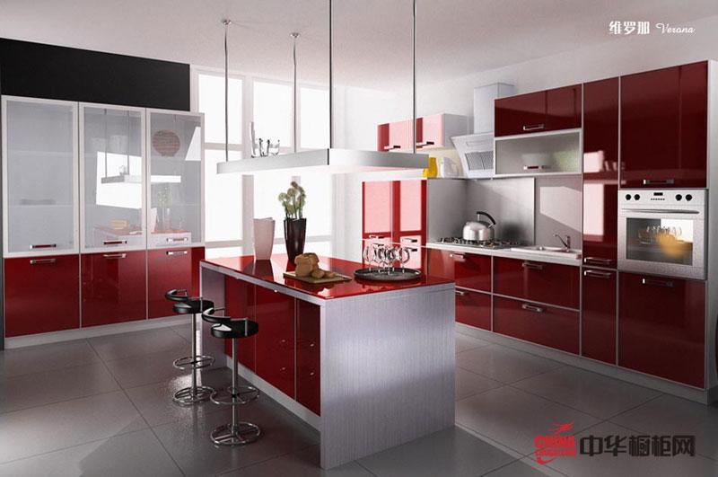 红色烤漆橱柜图片|大厨房装修效果图|整体橱柜装修图片|厨房装修效果