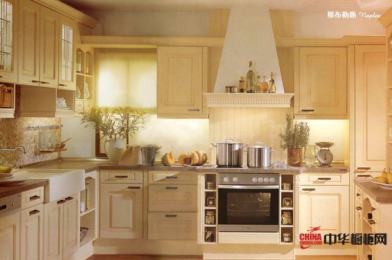 欧式田园风情整体厨房装修效果图 l型整体橱柜设计图片欣赏