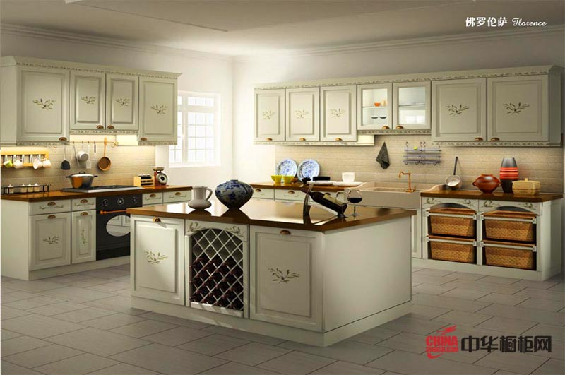 佛罗伦萨——欧式风格厨房装修效果图 白色实木整体橱柜装修设计图片极尽的展示了一种迷人的文艺艺术