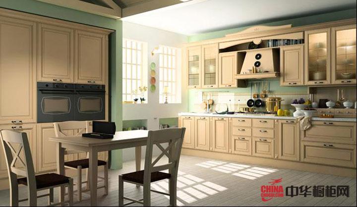 新古典风格整体厨房装修效果图 实木橱柜图片演绎沉着