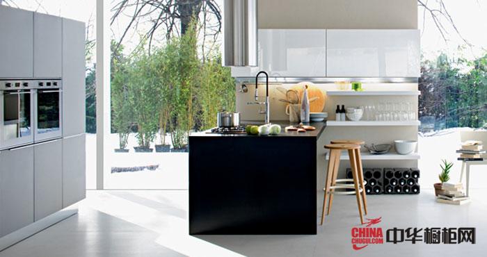 开放式厨房装修效果图 简欧风格整体橱柜图片展示优雅风情