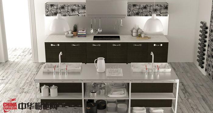 双排整体橱柜装修图片 现代简约风格厨房装修效果图|开放式小户型厨房装修设计