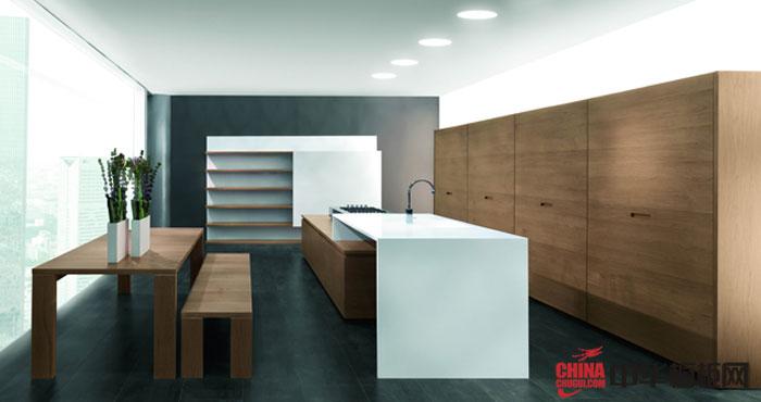 橱柜十大品牌整体橱柜设计效果图 2012最新款整体橱柜 原木色整体橱柜打造清新自然厨房空间