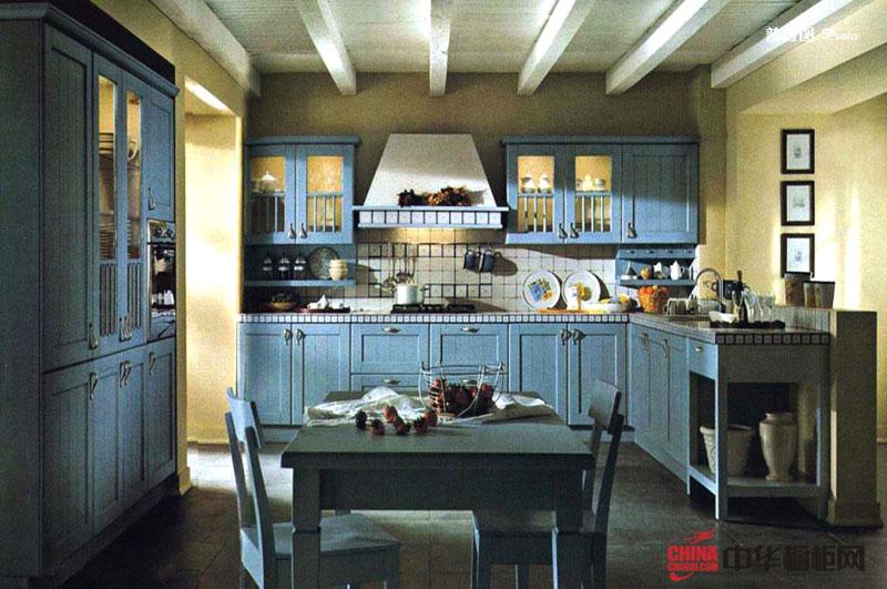 美式乡村风格厨房装修效果图大全 实木橱柜图片展示豪放的地域风情