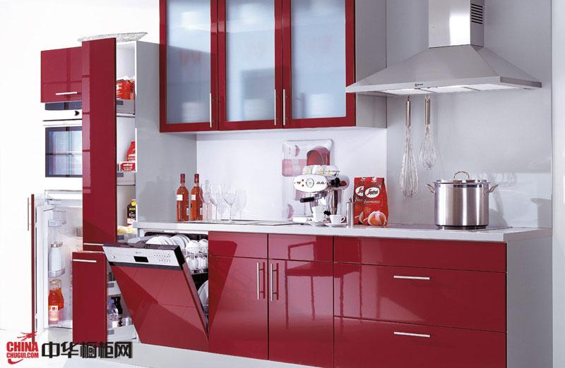 红色烤漆橱柜装修图片 一字型小厨房装修效果图大全2012图片