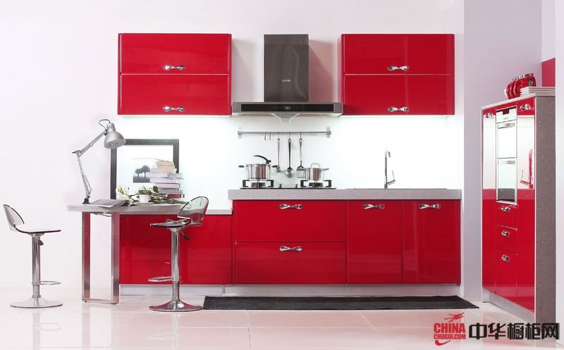 红色烤漆橱柜设计效果图 简约风格厨房装修效果大全2012图片——东方邦太橱柜卡地亚(BT12-Y015