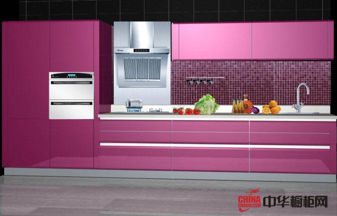 紫色烤漆橱柜装修图片 一字型小厨房装修效果图大全2012图片 2012年最新整体橱柜图片