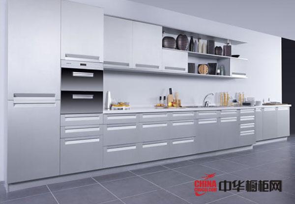 白色烤漆橱柜装修效果图 一字型开放式厨房装修效果图