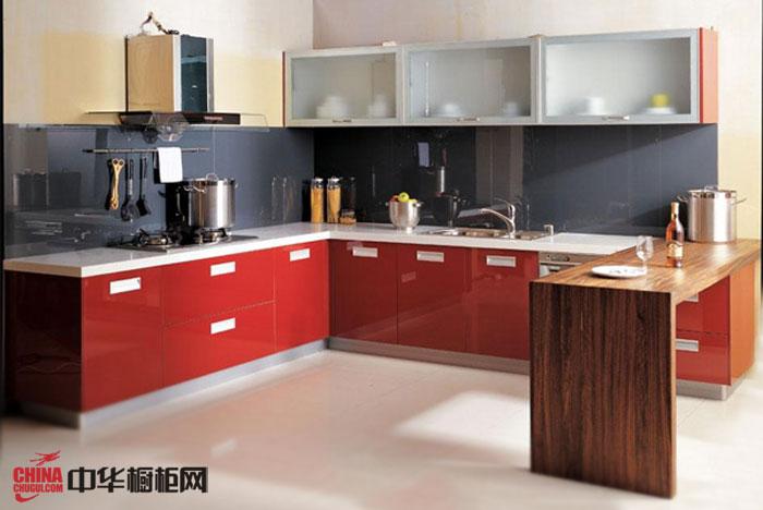 红色烤漆橱柜装修效果图 简约风格橱柜设计图片 L型橱柜图片