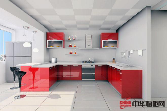 红色烤漆橱柜设计效果图 现代厨房装修效果图