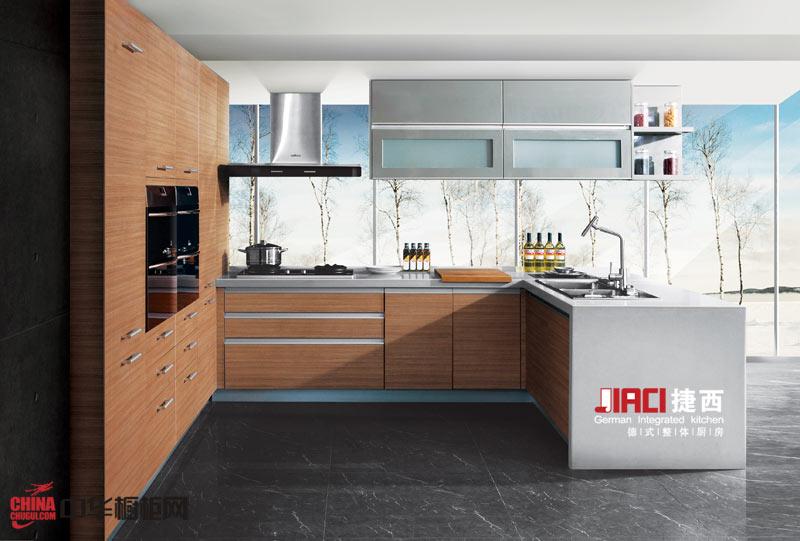 捷西橱柜枫之恋——简约风格U型厨房装修效果图大全2012图片