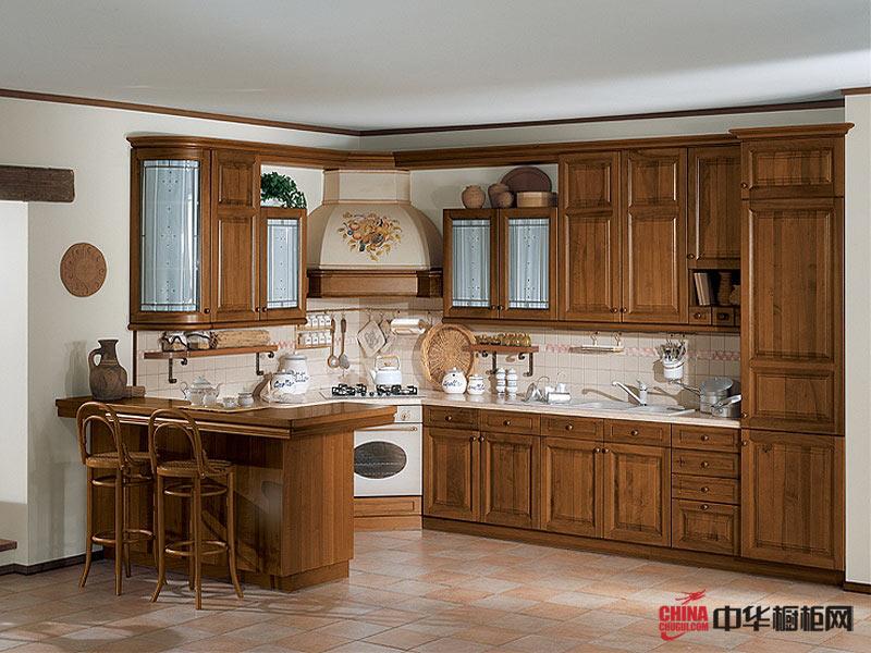 曲径通幽——厨房橱柜图片 实木橱柜图片 古典风格厨房装修效果图大全