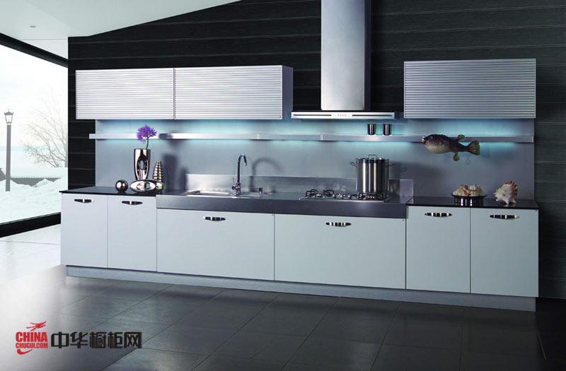 白色一字型整体橱柜图片 开放式厨房装修效果图大全2012图片 小厨房