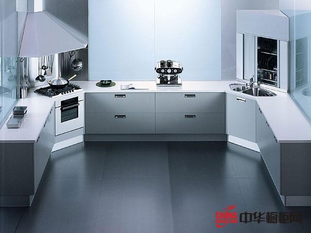 不锈钢橱柜图片欣赏 简约风格U型厨房设计效果图