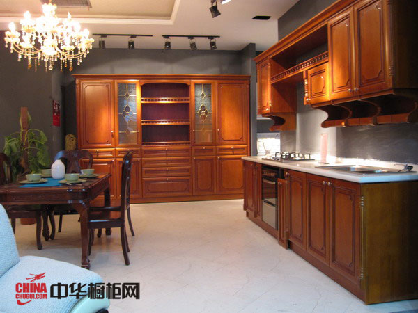 实木橱柜图片 开放式厨房装修效果图