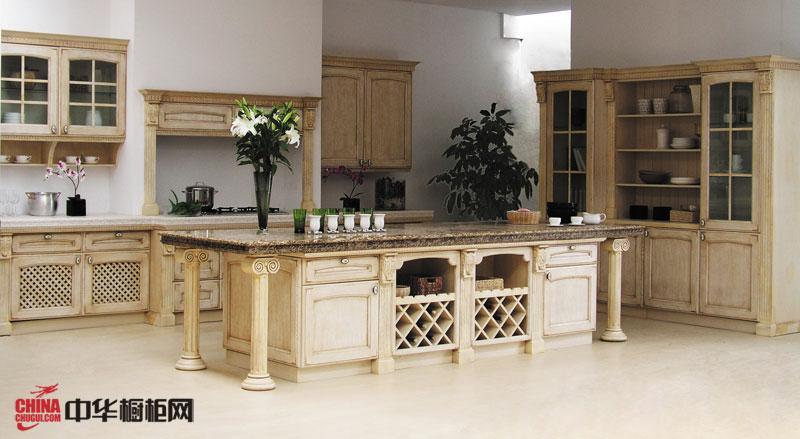 欧式橱柜图片|实木橱柜图片 整体橱柜设计效果图 开放式厨房装修效果