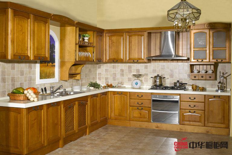 古典橱柜设计效果图|实木橱柜图片 田园风格厨房装修效果图体验大自然的温暖