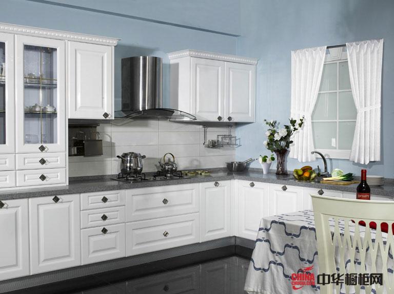 2012年厨房橱柜图片蒙娜丽莎——经典的白色欧式橱柜效果图 实木橱柜效果图让快乐从心而起