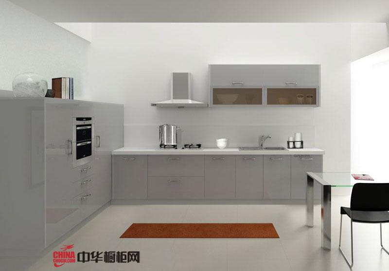 现代简约风格整体橱柜装修效果图 白色系列开放式厨房