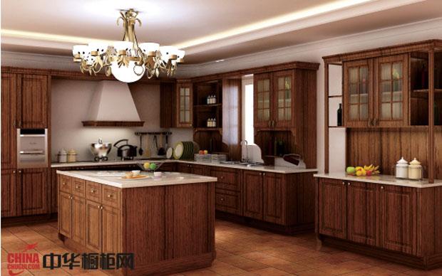 厨房橱柜图片 德意·丽博橱柜图片——实木整体橱柜图片 欧式古典风格厨房装修效果图彰显大气