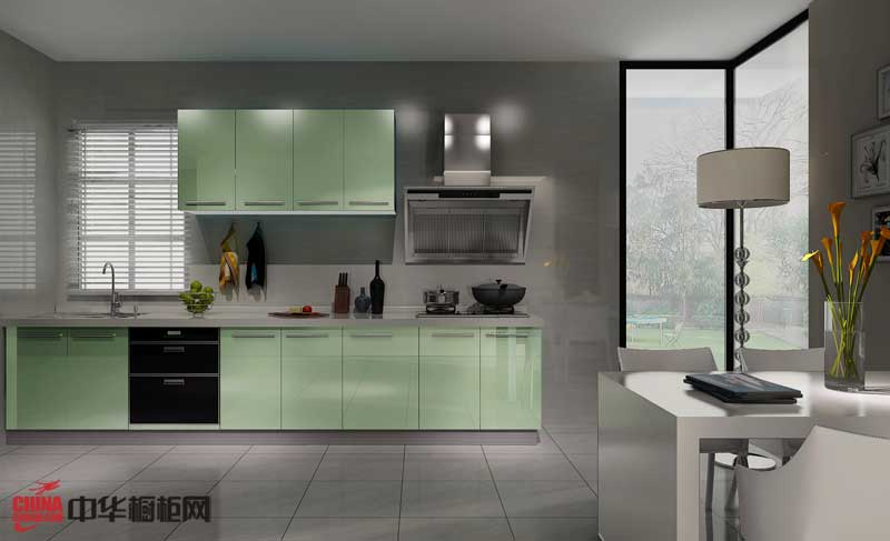 尚朋堂科技厨房——绿色烤漆整体橱柜图片|一字型整体橱柜装修效果图 简约风格小户型厨房装修效果图大全2012图片