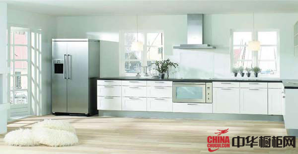 白色一字型小厨房装修效果图 简约风格橱柜装修效果图