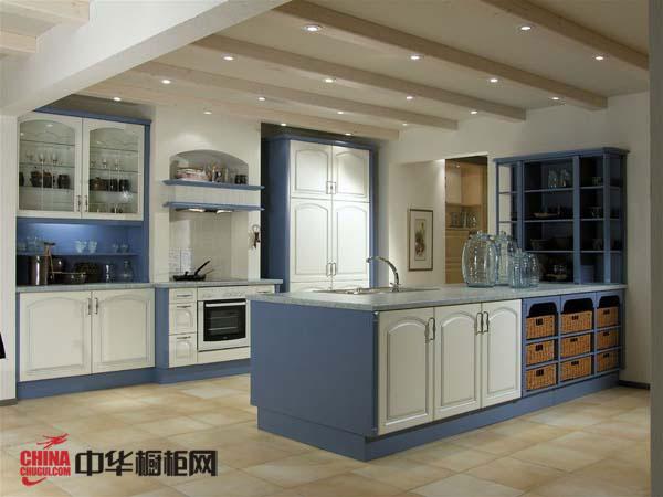 淡蓝色简欧风格整体橱柜效果图 2012年实木整体橱柜图片欣赏带一点地中海风情韵味