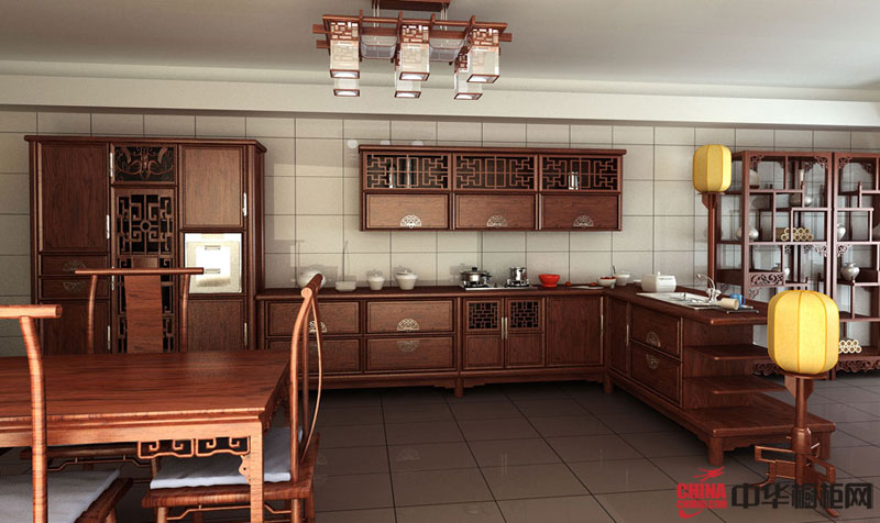 红墨倾城——大自然温莎堡橱柜图片 古典风格实木整体橱柜图片欣赏