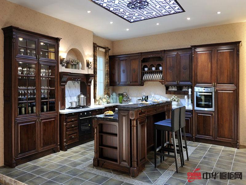 美佳厨柜图片-黑胡桃木整体橱柜花好月圆 中式古典风格 实木橱柜图片