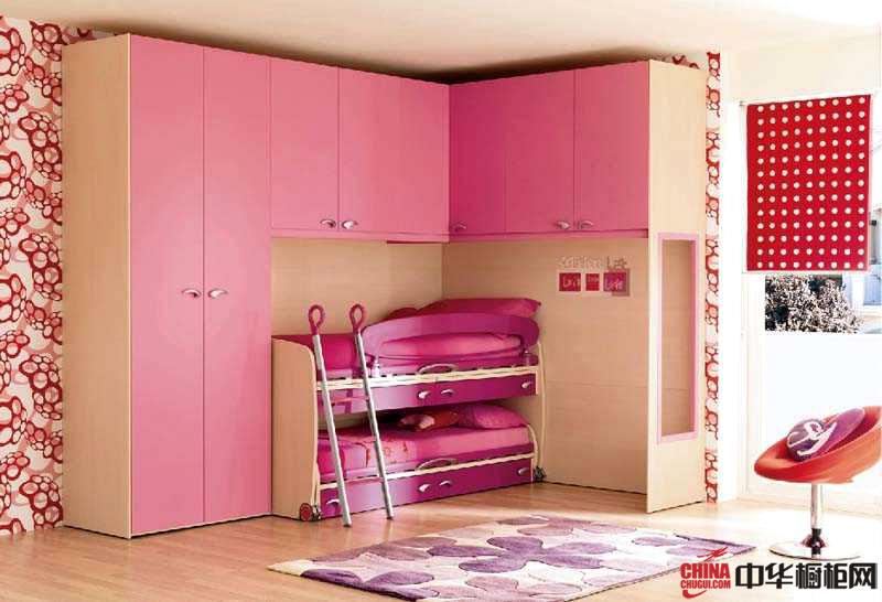 粉红色整体衣柜图片 打造粉嫩可爱的公主卧室装修设计