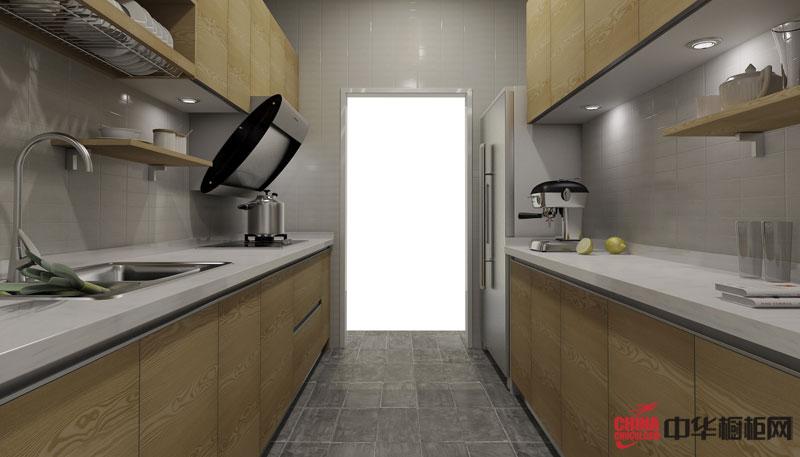 走廊型整体橱柜图片|实木橱柜图片 简约风格厨房装修效果图大全2012