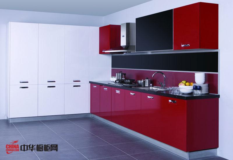 深红色不锈钢烤漆橱柜图片 现代简约风格橱柜装修效果图诠释对生活的热情