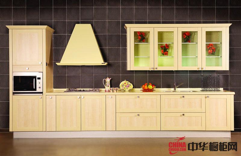 2012年整体橱柜效果图——田园风格橱柜装修效果图|一字型橱柜图片 小户型厨房装修效果图展示厨房的精巧细致