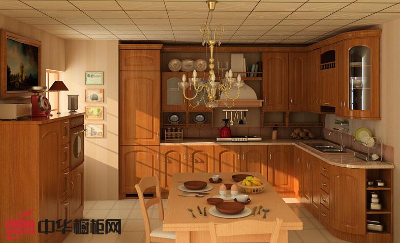 实木整体橱柜设计效果图 古典风格厨房装修效果图大全2012图片
