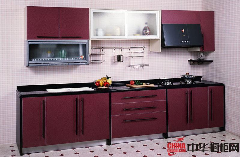 小厨房装修效果图——一字型整体橱柜图片 深红色烤漆