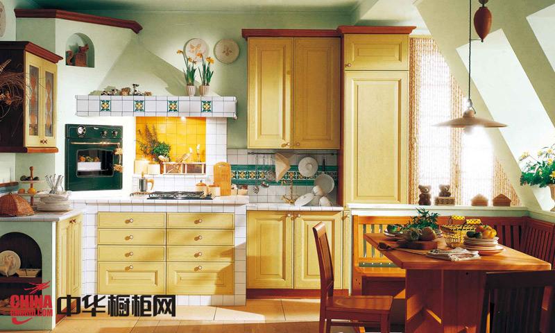 欧式田园风格橱柜图片——拉斐尔之胡桃 实木整体橱柜图片让厨房回归自然