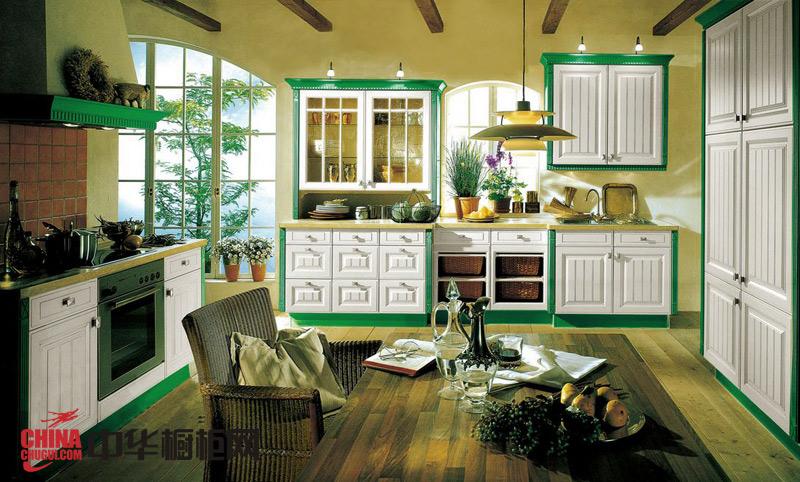 欧式古典风格整体橱柜效果图——达·芬奇 2012年最新款实木整体橱柜图片自然古朴耐人寻味
