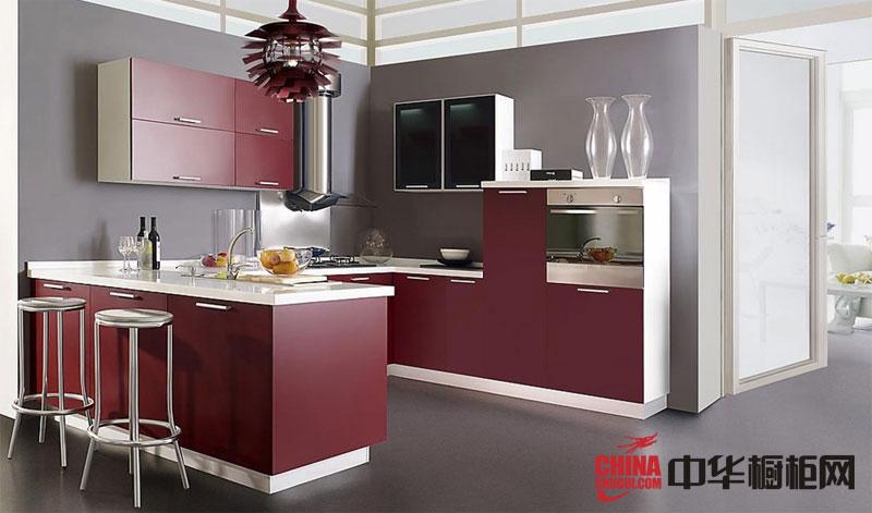 红褐色烤漆橱柜图片 U型整体橱柜效果图欣赏