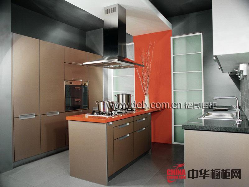 德贝橱柜图片-时尚元素——不锈钢整体橱柜图片 咖啡色烤漆橱柜图片